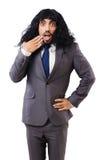 Uomo d'affari divertente con la parrucca femminile isolata Fotografia Stock