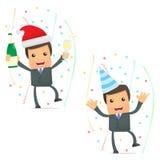 Uomo d'affari divertente del fumetto che celebra la festa Fotografia Stock