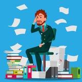 Uomo d'affari Doing Paperwork Vector Di impiegato Sforzo impressionabile Grandi pile di cartelle Documentazione stipata di illustrazione vettoriale