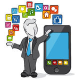 Uomo d'affari e apps Fotografie Stock Libere da Diritti