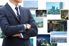 uomo d'affari e città e tecnologia Fotografie Stock Libere da Diritti