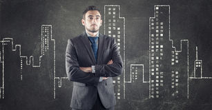 Uomo d'affari e città urbana di disegno Fotografie Stock Libere da Diritti