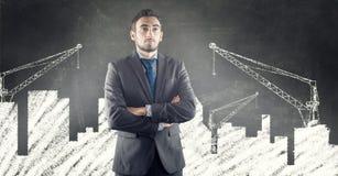 Uomo d'affari e città urbana di disegno Fotografia Stock Libera da Diritti