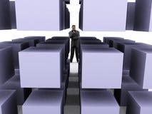 Uomo d'affari e cubi Fotografie Stock Libere da Diritti