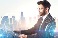 Uomo d'affari e Cyberspace Immagine Stock