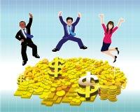 Uomo d'affari e donna di affari che saltano con la moneta ed il lingotto di oro Immagini Stock Libere da Diritti