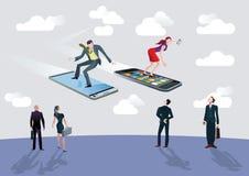 Uomo d'affari e donna di affari e smartphon di volo Immagine Stock