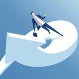 Uomo d'affari e freccia illustrazione di stock