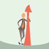 Uomo d'affari e freccia di successo. Fotografia Stock