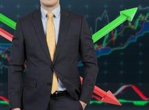 Uomo d'affari e grafico a colori Fotografia Stock Libera da Diritti