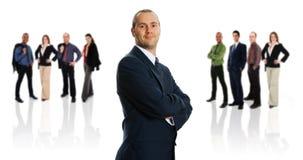 Uomo d'affari e la sua squadra Fotografia Stock