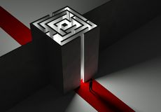 Uomo d'affari e labirinto, concetto 3d Fotografia Stock