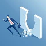 Uomo d'affari e parete isometrici Fotografia Stock