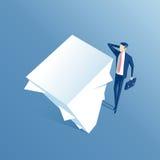 Uomo d'affari e pila di carta Immagine Stock
