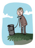 Uomo d'affari e un barile di petrolio Fotografia Stock Libera da Diritti