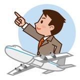Uomo d'affari ed aeroplano Fotografia Stock