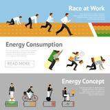 Uomo d'affari Energy Banner Set Fotografia Stock Libera da Diritti