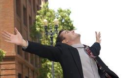 Uomo d'affari esaltato Fotografia Stock