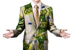 Uomo d'affari in euro vestito Fotografia Stock