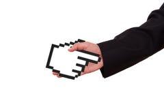 Uomo d'affari Extends Hand con il cursore del topo Fotografia Stock