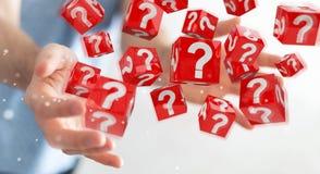 Uomo d'affari facendo uso dei cubi con i punti interrogativi della rappresentazione 3D Fotografia Stock Libera da Diritti