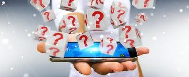 Uomo d'affari facendo uso dei cubi con i punti interrogativi della rappresentazione 3D Immagine Stock