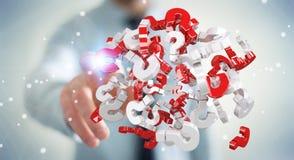 Uomo d'affari facendo uso dei punti interrogativi della rappresentazione 3D Immagine Stock Libera da Diritti