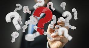 Uomo d'affari facendo uso dei punti interrogativi della rappresentazione 3D Fotografie Stock