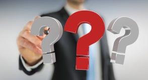 Uomo d'affari facendo uso dei punti interrogativi della rappresentazione 3D Fotografia Stock