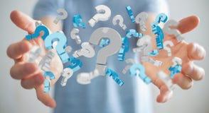 Uomo d'affari facendo uso dei punti interrogativi della rappresentazione 3D Immagini Stock Libere da Diritti