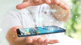 Uomo d'affari facendo uso del codice binario digitale sul renderi del telefono cellulare 3D Fotografia Stock