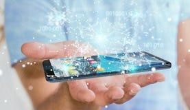 Uomo d'affari facendo uso del codice binario digitale sul renderi del telefono cellulare 3D Fotografie Stock Libere da Diritti