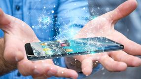 Uomo d'affari facendo uso del codice binario digitale sul renderi del telefono cellulare 3D Immagine Stock Libera da Diritti