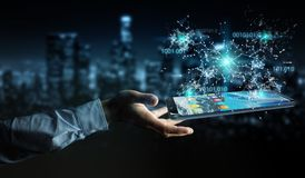 Uomo d'affari facendo uso del codice binario digitale sul renderi del telefono cellulare 3D Immagine Stock