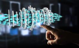 Uomo d'affari facendo uso del fare galleggiare la rappresentazione moderna del meccanismo di ingranaggio 3D Immagine Stock
