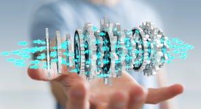 Uomo d'affari facendo uso del fare galleggiare la rappresentazione moderna del meccanismo di ingranaggio 3D Immagine Stock Libera da Diritti