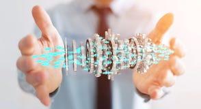 Uomo d'affari facendo uso del fare galleggiare la rappresentazione moderna del meccanismo di ingranaggio 3D Fotografia Stock Libera da Diritti