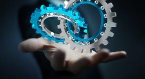 Uomo d'affari facendo uso del fare galleggiare la rappresentazione moderna del meccanismo di ingranaggio 3D Immagini Stock Libere da Diritti