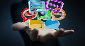 Uomo d'affari facendo uso del ico variopinto digitale di conversazione della rappresentazione 3D illustrazione vettoriale