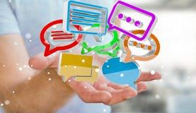 Uomo d'affari facendo uso del ico variopinto digitale di conversazione della rappresentazione 3D Fotografia Stock Libera da Diritti