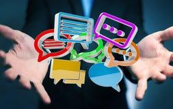 Uomo d'affari facendo uso del ico variopinto digitale di conversazione della rappresentazione 3D Fotografie Stock Libere da Diritti