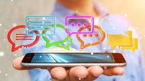 Uomo d'affari facendo uso del ico variopinto digitale di conversazione della rappresentazione 3D Immagini Stock Libere da Diritti