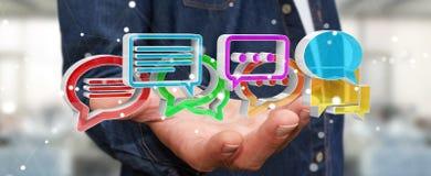 Uomo d'affari facendo uso del ico variopinto digitale di conversazione della rappresentazione 3D Immagine Stock Libera da Diritti