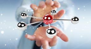 Uomo d'affari facendo uso del pilotare la rappresentazione della rete 3D delle sfere 3D Fotografia Stock