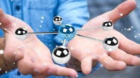 Uomo d'affari facendo uso del pilotare la rappresentazione della rete 3D delle sfere 3D Immagini Stock