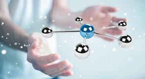 Uomo d'affari facendo uso del pilotare la rappresentazione della rete 3D delle sfere 3D Fotografie Stock
