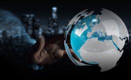 Uomo d'affari facendo uso del pilotare la terra bianca e blu della rappresentazione 3D Immagini Stock