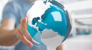 Uomo d'affari facendo uso del pilotare la terra bianca e blu della rappresentazione 3D Immagine Stock