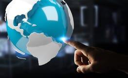 Uomo d'affari facendo uso del pilotare la terra bianca e blu della rappresentazione 3D Immagini Stock Libere da Diritti
