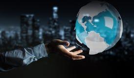 Uomo d'affari facendo uso del pilotare la terra bianca e blu della rappresentazione 3D Fotografia Stock Libera da Diritti